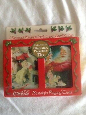 1996 COCA COLA 2 Decks PLAYING CARDS Collectible Tin NEW Sealed Santa Coke