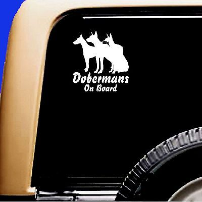Dobermans On Board Doberman Dog Vinyl Car Decal Sticker Pet RV Truck