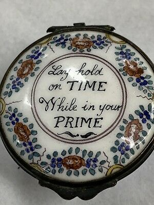 Rare Antique English Battersea Enamel Trinket Box Very Old England WITH SAYING