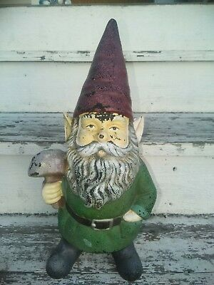 Antique - Vintage Cast Iron Garden Lawn Gnome Holding Mushroom RARE VERSION LOOK
