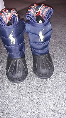 Boys Girls infant  Ralph Lauren Polo Navy  Snow Boots Size 5.5