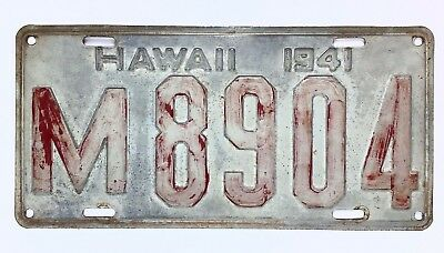 Hawaii 1941 Old License Plate Antique Tag Prewar Island Collect Man Cave VIDEO