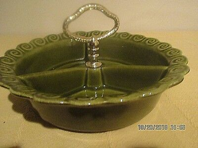 Vtg. California Pottery #267 Candy/Nut?Relish dish/w handle 3 Sections