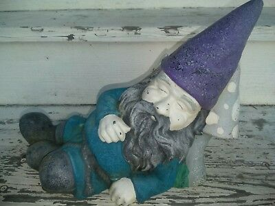 Antique - Vintage Cast Iron Garden Lawn Yard Gnome Taking A Nap On A Mushroom