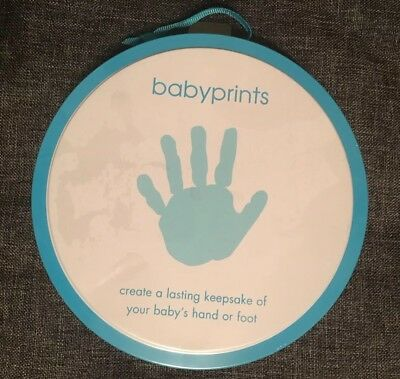Pearhead Babyprints Handprint / Footprint Imprint Kit with Blue Storage Tin Gift