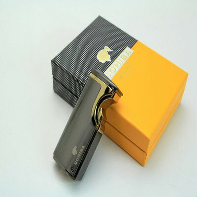 NEW COHIBA GREY METAL USB Recharge 3 TORCH JET FLAME CIGAR  LIGHTER W/PUNCH
