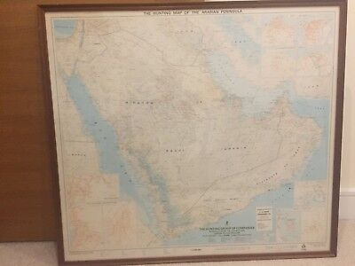 Large framed map of the Arabian Peninsula, printed in 1978. Size 100cm by 89cm