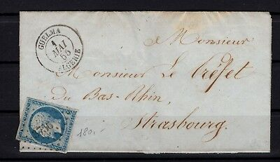 Bp94732 / Postal History / Letter Of 1855 From Guelma (Algeria) To Strasbourg