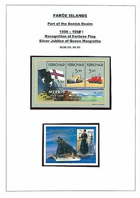 Faroe Islands 1990 Faroese Flag & 1997 Queen Margrethe Mini sheets. Mint.