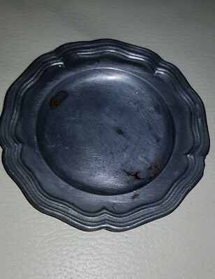 Antique Pewter small dish with Angel mark underneath.
