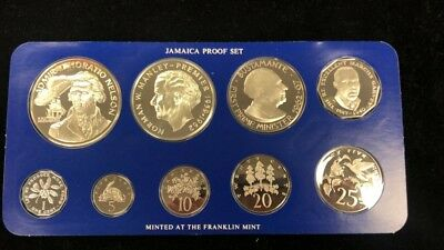 1976 Jamaica Proof Set - 9 Coins - Includes 2 Large Silver Coins - Franklin Mint