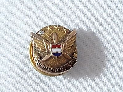 Vintage 10k Gold United Airlines Pilots Diamond 10 Years Service Pin 1960s 1970s