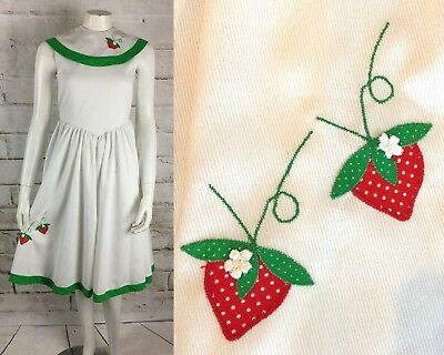 4f3e95ee6b4 Vintage 70s 80s Novelty Strawberries Applique XS Dress Girls-14 Jayne  Copleand
