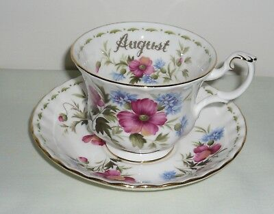 Royal Albert Flower of the Month 'August' Cup & Saucer  ~ Full Size ~ Poppy