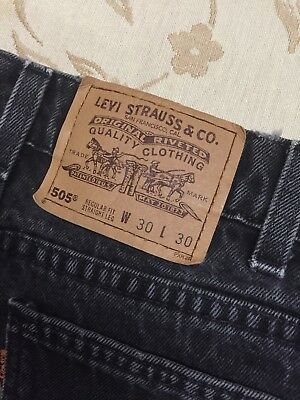 664b364aece Vintage Levi's Men's 505 Orange Tab Black Denim Zip Fly Jeans Size 30x30