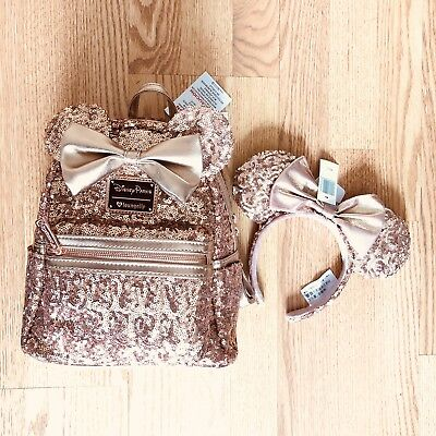 Disney Parks Minnie Mouse Rose Gold Ears Sequined Loungefly Backpack New Combo