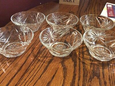 "Set of ( 6)Vintage Star of David Starburst 4-1/4"" Glass Dessert/ Ice Cream Bowls"