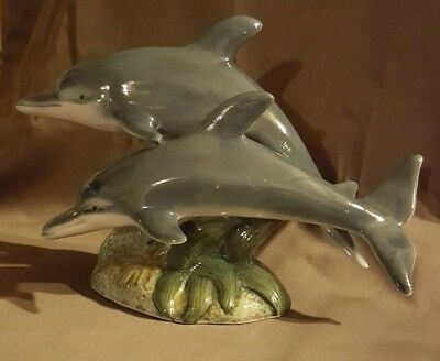 """Ceramic Porcelain Two Jumping Dolphins Figurine Statue 6 1/2"""" tall x 8"""" wide"""