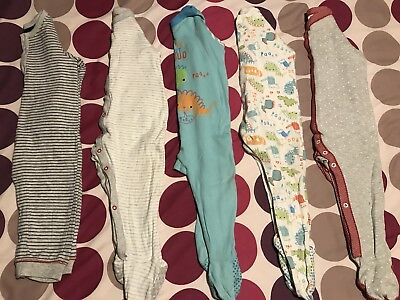 Sleepsuit Bundle 9-12 Months From Mothercare M&S 5 Items Dinosaurs Stripes Stars