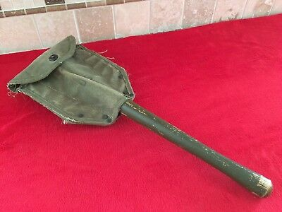 US Army USMC WW2 Folding SHOVEL with Cover Vtg GI Entrenching E-Tool Dated 1944