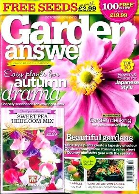 GARDEN ANSWERS MAGAZINE ISSUE OCTOBER 2018 WITH 4 x PACKS OF SEEDS ~ NEW ~