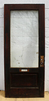 "34""x79 Antique Vintage Wood Wooden Exterior Entry Door Beveled Glass Lite Window"