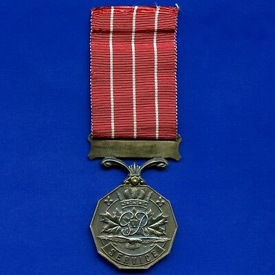 "Canadian Forces CD Long Service Medal With Ribbon "" King George VI Issue """