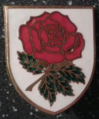 Vintage England Red Rose Rugby Union metal enamel badge.