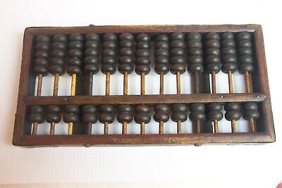 Antique / Vintage Chinese Wooden & Brass Abacus 91 Beads 13 Rods  Lotus Flower ?