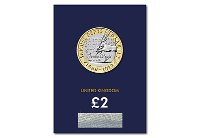 2019 CERTIFIED BU £2 Two Pound Coin Samuel Pepys' Diary Sealed On Card BUNC