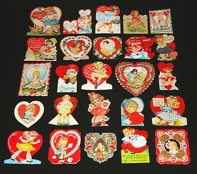 Lot 25 Vintage Valentine Greeting Cards With Sweet Girls - Cute Young Ladies