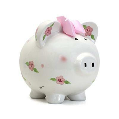 Child To Cherish Large Piggy Bank Posies and Polka Dots NEW
