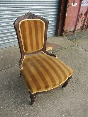 A Victorian Mahogany Nursing Low Chair Serpentine Front Bedroom Antique Restore