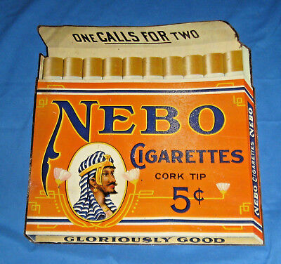 Nebo Cigarettes Die-Cut Tin Litho Sign, Vintage and Original - Circa 1911