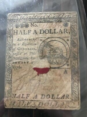 FEBRUARY 17, 1776 $1/2 ONE HALF DOLLAR CONTINENTAL CURRENCY NOTE No. 418051