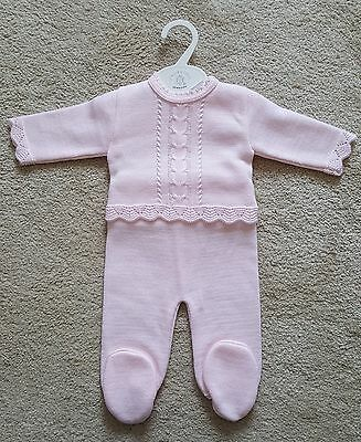 Gorgeous baby girls spanish romany knitted top and legging set,pink 6-12months.