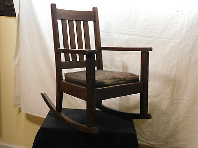 Antique Mission Oak Arts & Crafts Small Rocking Chair w/Leather Cushion Seat