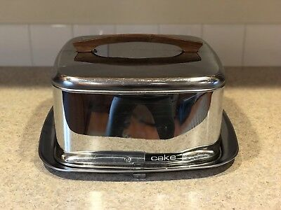 MCM Lincoln Beautyware Cake Carrier Chrome Metal W/Locking Lid