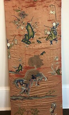 Antique LARGE Chinese FIGURAL DRAGON Qing Dynasty Hand Embroidered Silk Panel