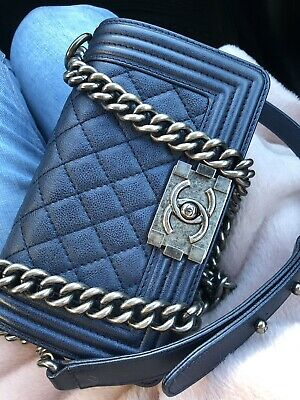 100% AUTHENTIC NEW Chanel Le Boy Medium Navy Flap Bag With Ruthenium ... 4574555c514ea