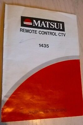 MATSUI CTV 1435 Colour Television Instruction Book Guide Owner's Manual CTV1435
