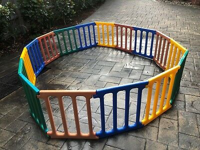 PLASTIC PLAYPEN GATE- USED - MULTI-COLOR -  15 x PIECES - KIDS / DOGS / FENCING