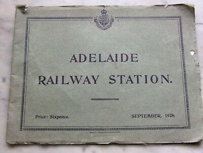 Rare 1928 ADELAIDE RAILWAY STATION Illustrated Booklet.