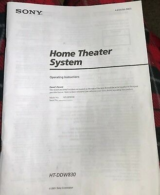 Sony HT-DDW830 Home Theater System Owners Manual