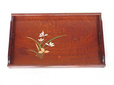 Japanese antique vintage lacquer wood large rectangular Bon tray chacha