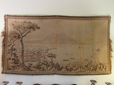 """Napoli Tapestry Circa 1900 Made In Italy Harbor Volcanos 25X46"""" Naples Excellent"""