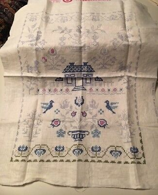 Vintage Stamped Cross Stitch Americana Sampler - Partially Stitched