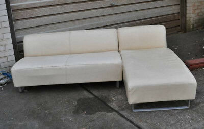 King Furniture Off White Leather Sofa L Shape