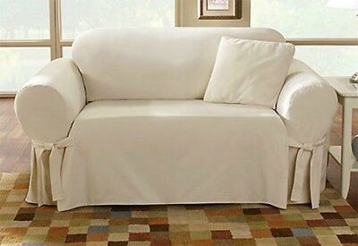 Sure Fit Cotton Duck Sofa Slipcover In Natural For Box Style Seat