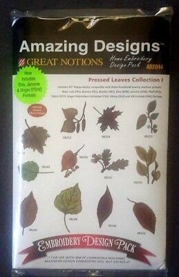 PRESSED LEAVES  COLLECTION I - Amazing Designs - Embroidery Design Pack - NIP
